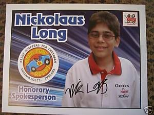 Race for Riley Ambassador Nick Long Autograph Card to raise money for Riley Kids...