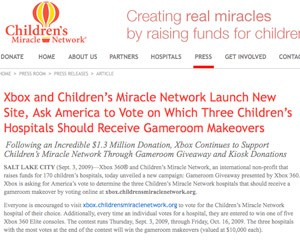 Gameroom Giveaway from Xbox and Children's Miracle Network, VOTE FOR RILEY HOSPITAL FOR CHILDREN...